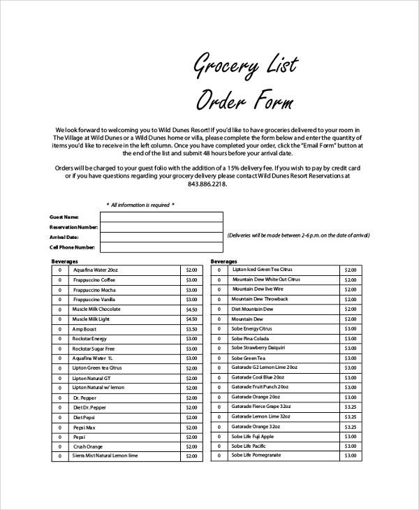 Stunning Grocery List Form Ideas - Best Resume Examples by Industry ...
