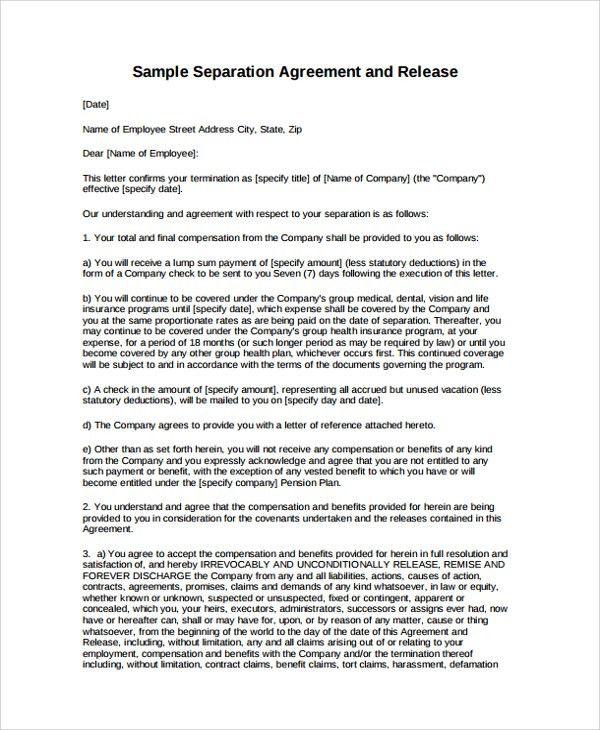 Employment Separation Letter Letter Of Separation, Sample - employment separation agreement