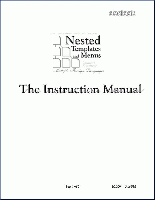 Nested Templates   Decloak  Manual Cover Page Template