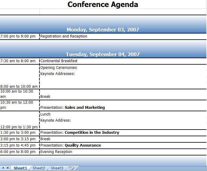 Seminar Schedule Template Conference Schedule Template 7 Free - event timetable template