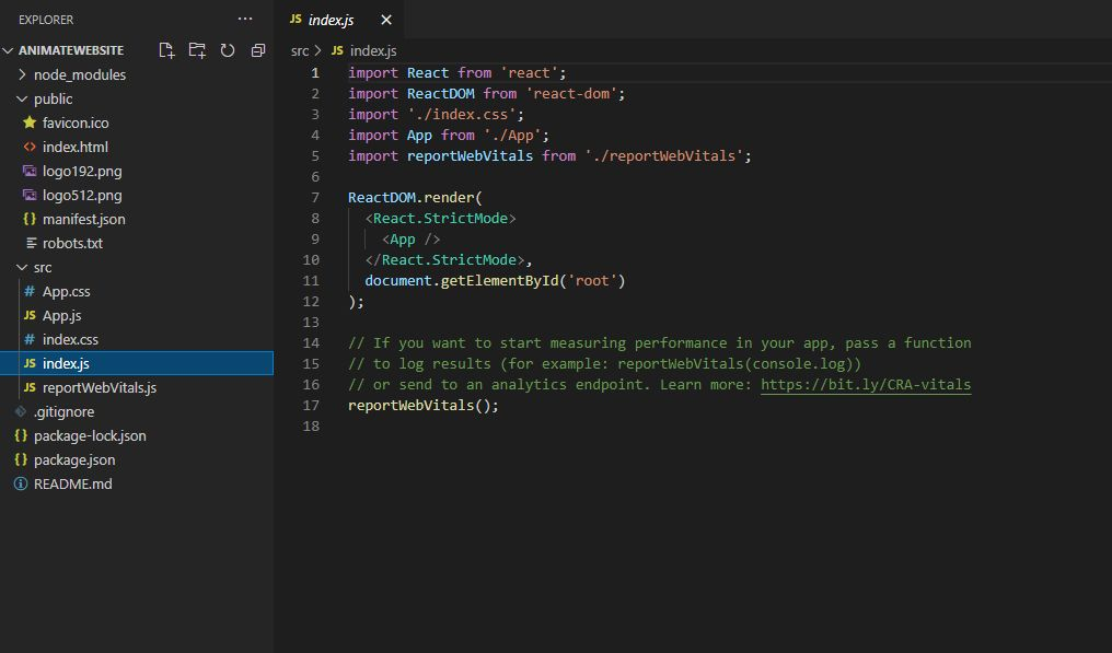 React web app Project view