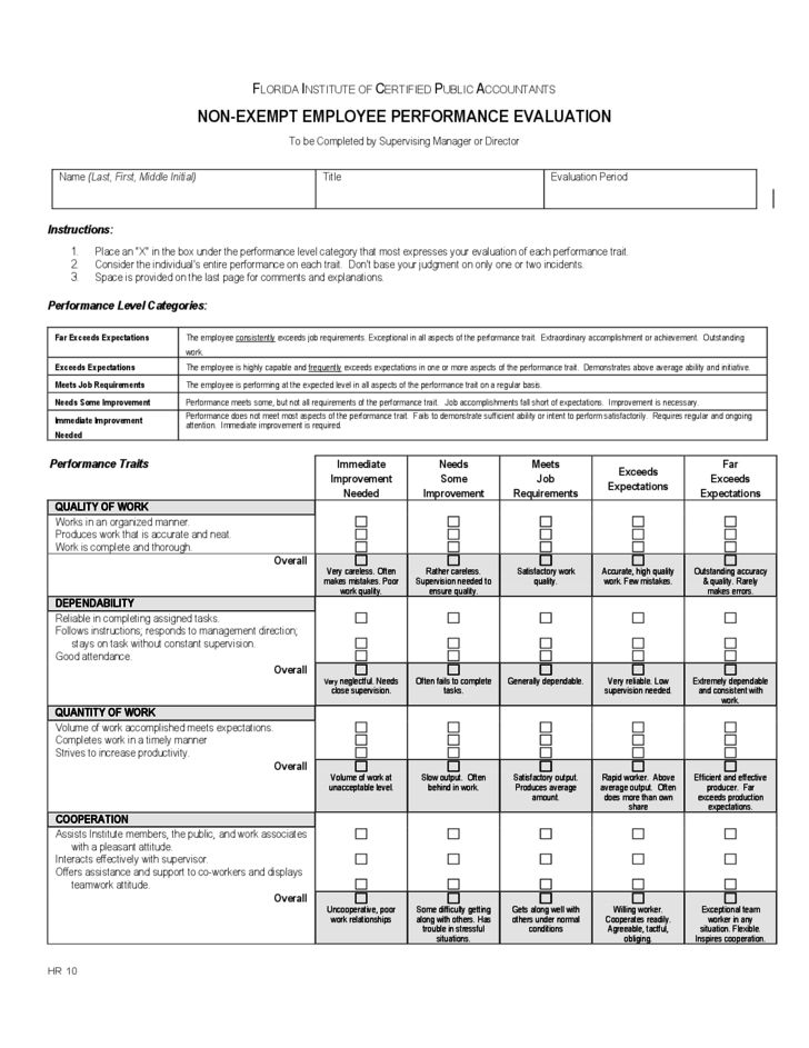 Staff Evaluation Template Employee Evaluation Form 41 Download - employee evaluation form example