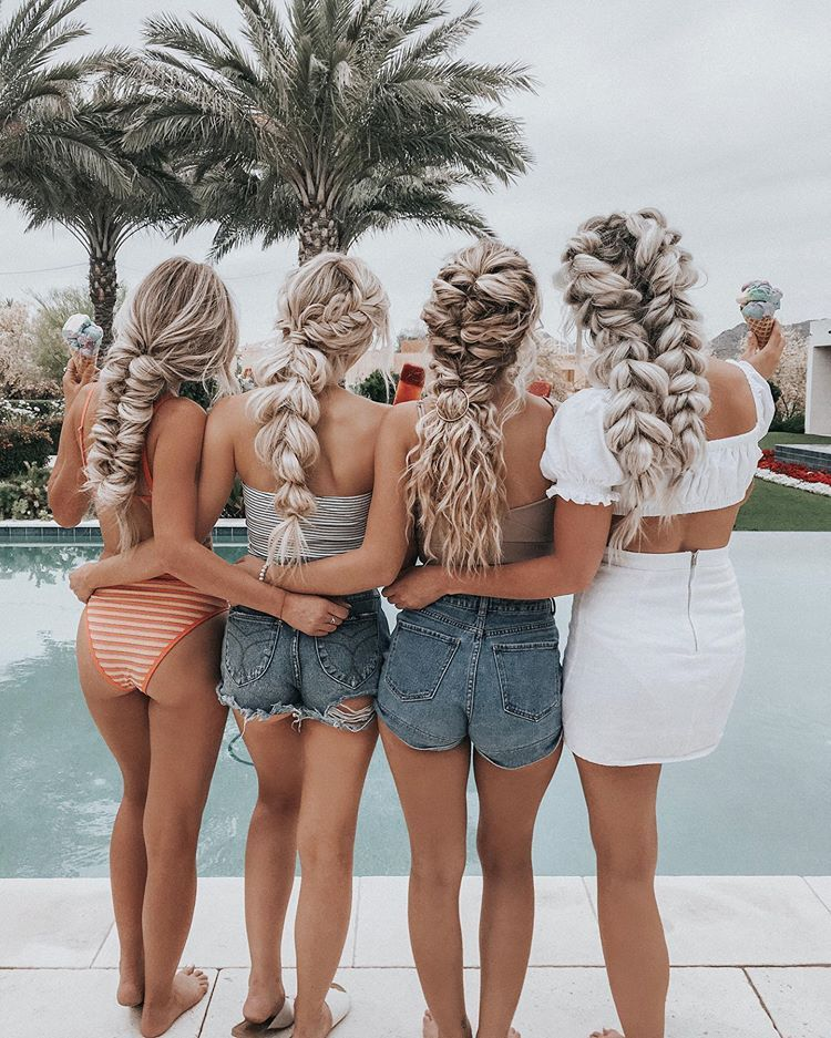 Blonde braided besties summer style