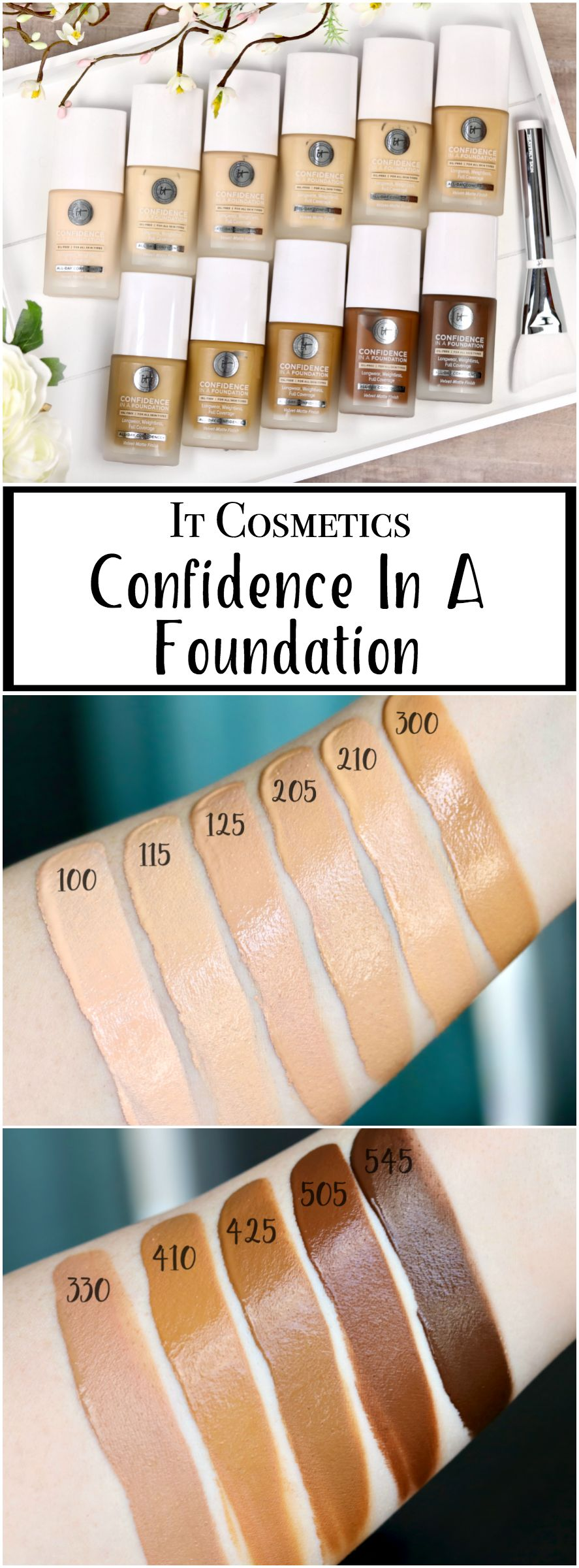 Review of the new It Cosmetics Confidence In A Foundation. 11 Shades Swatched!