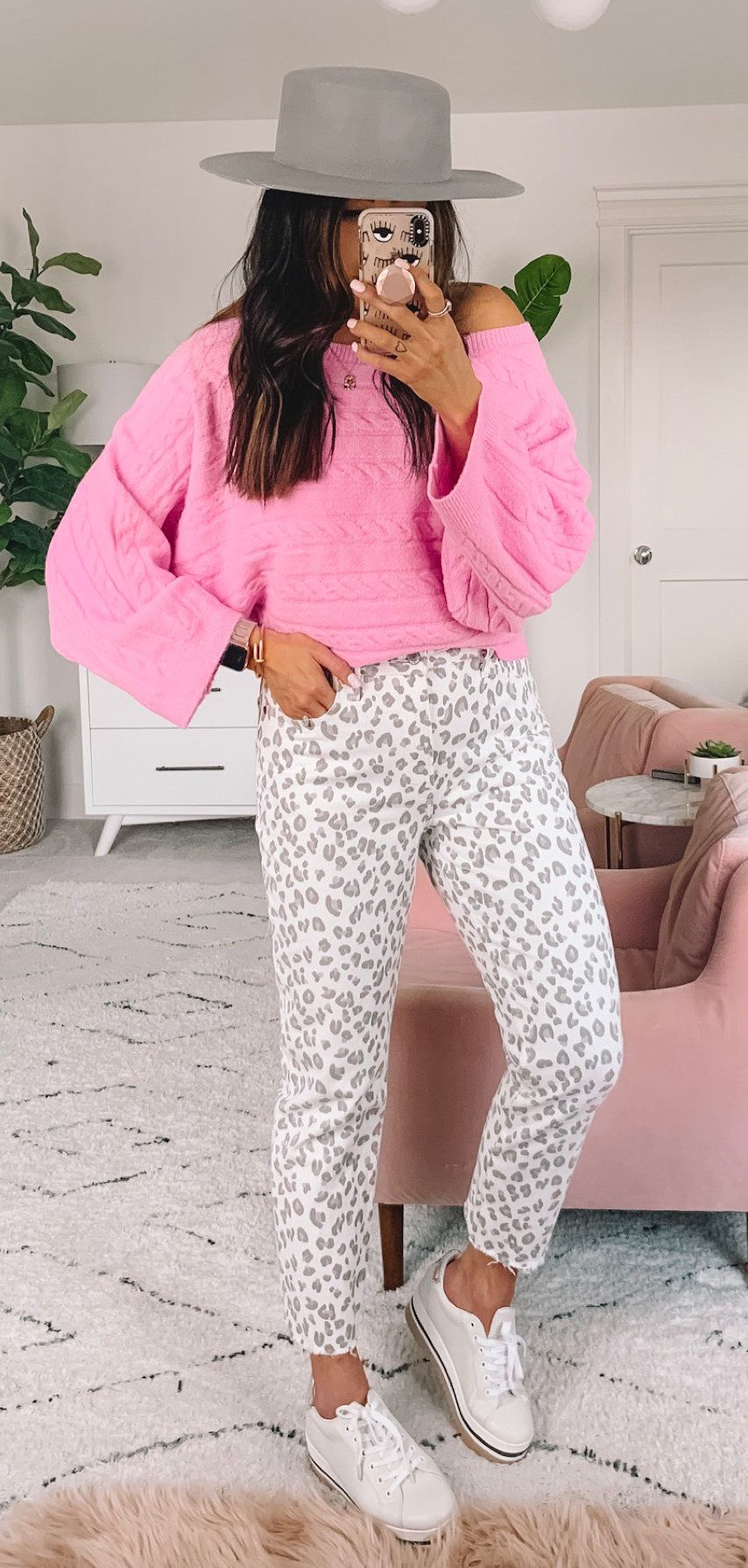 pink off-shoulder long-sleeved shirt #spring #outfits