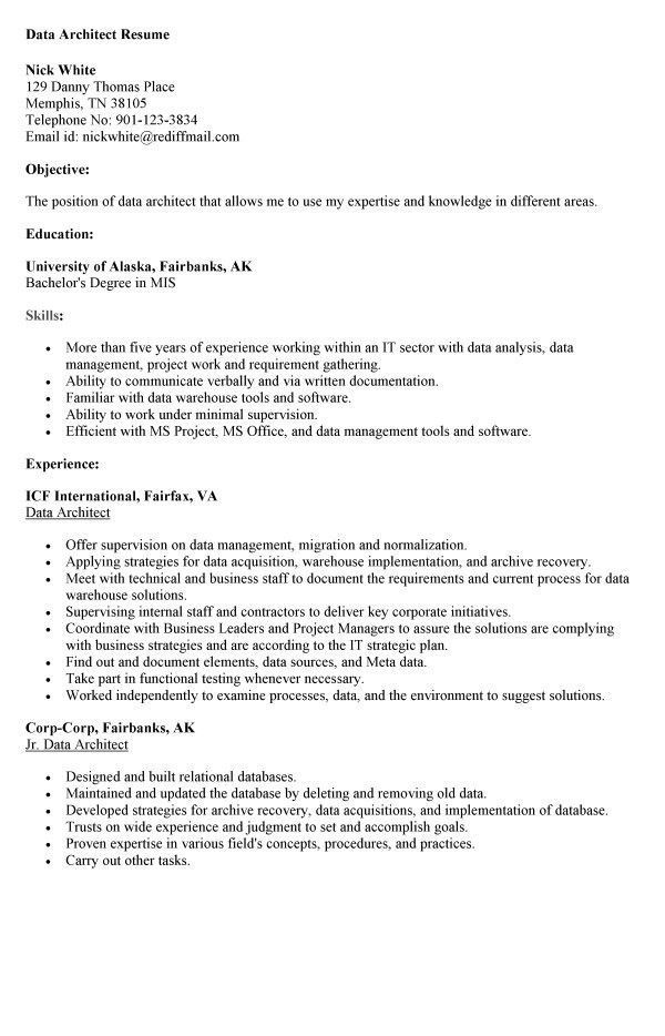 database architect sample resume data architect resume resume
