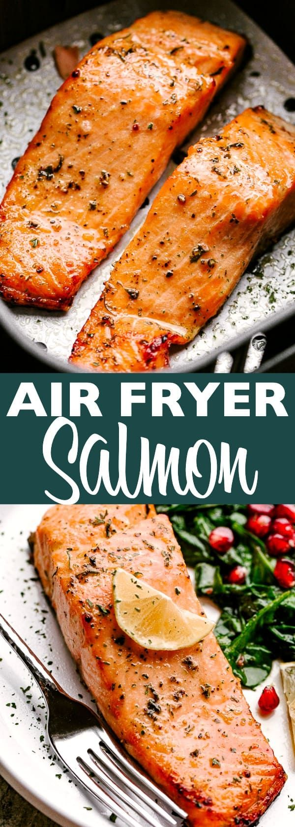 Air Fryer Salmon - Juicy, flaky, and deliciously flavored Salmon fillets cooked in the Air Fryer! This easy Keto-friendly seafood recipe is the perfect choice anytime you want a fabulous, low carb dinner. #salmon #airfryer #keto #lowcarb