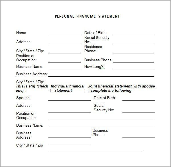 Financial Statement Template Financial Statement Template 20 Free - sample personal financial statement