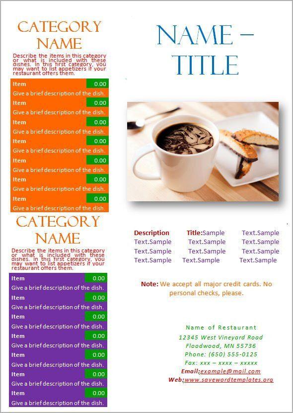 Free Restaurant Menu Template Word Free Menu Template 21 Free - sample menu template