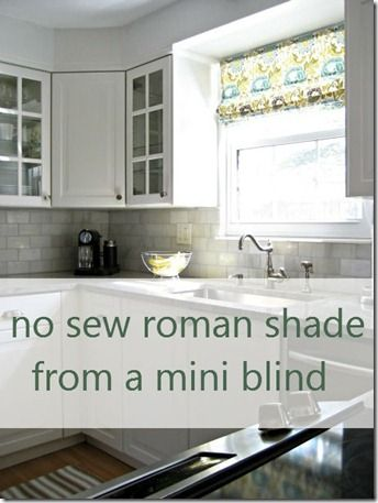 kitchen mini-blind update (or pinspiration: no sew roman shade)