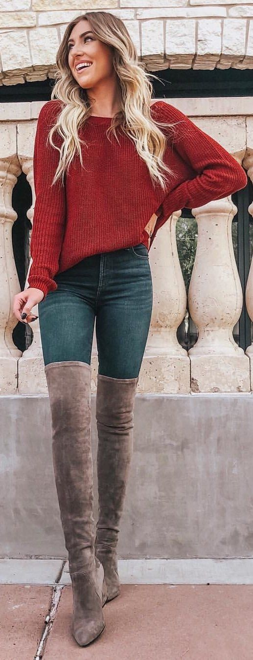 red boat-neck long-sleeved top