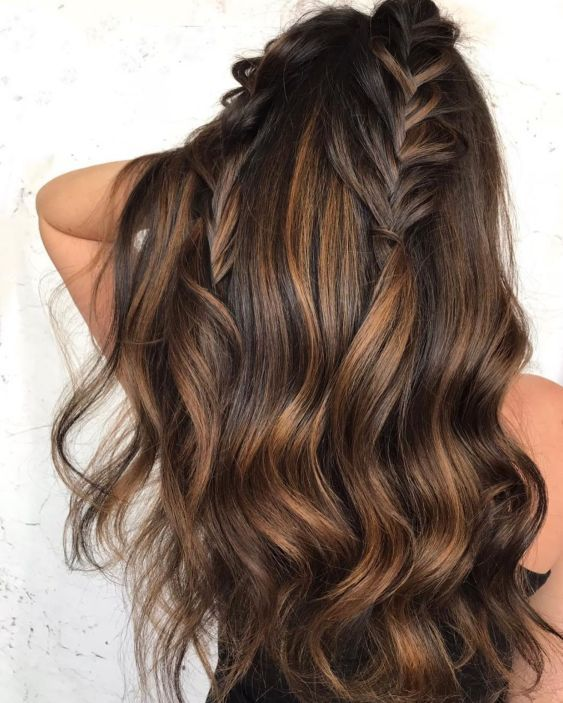 Long Chocolate Hair with Caramel Balayage