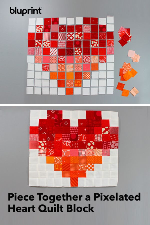 Piece Together a Pixelated Heart Quilt Block
