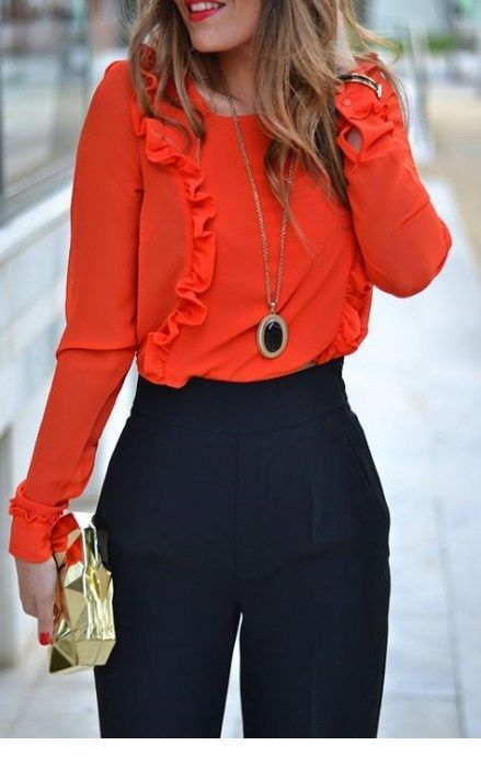 I love this coral blouse and necklace