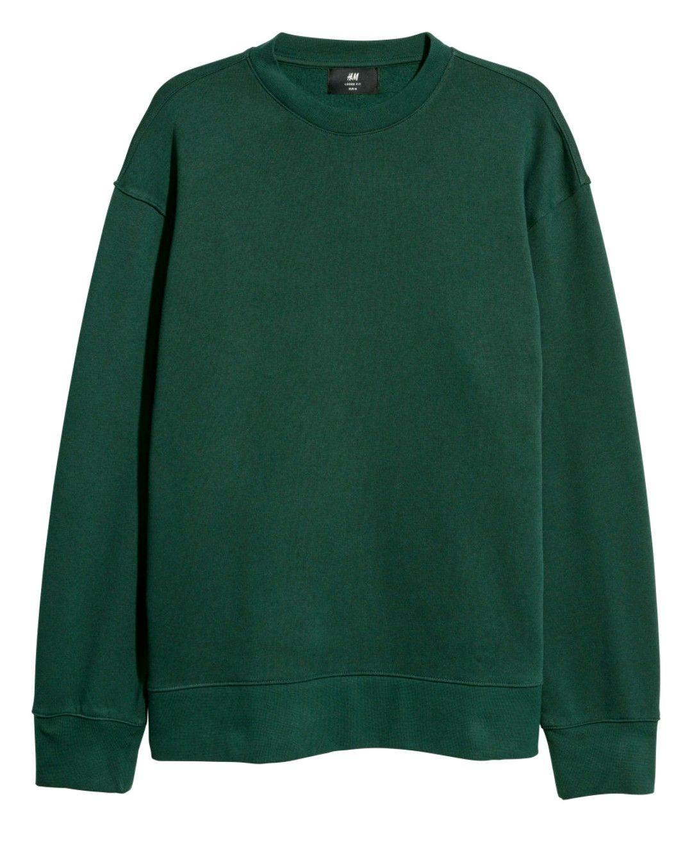 H M Dark Green Sweatshirt Mens Green Sweater Green Sweatshirt Outfit Sweatshirts [ 1330 x 1080 Pixel ]