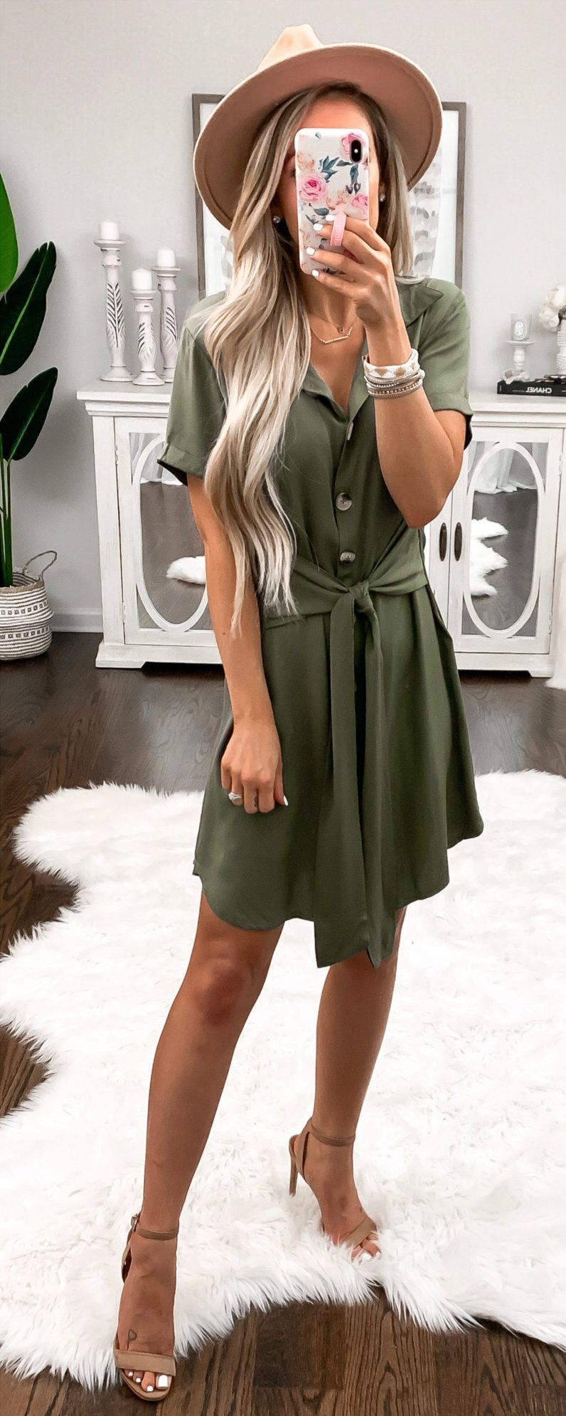 gray button-up dress #spring #outfits