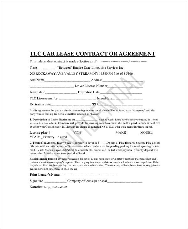 Car Lease Contract Template Car Lease Agreement Template - sample vehicle lease agreement