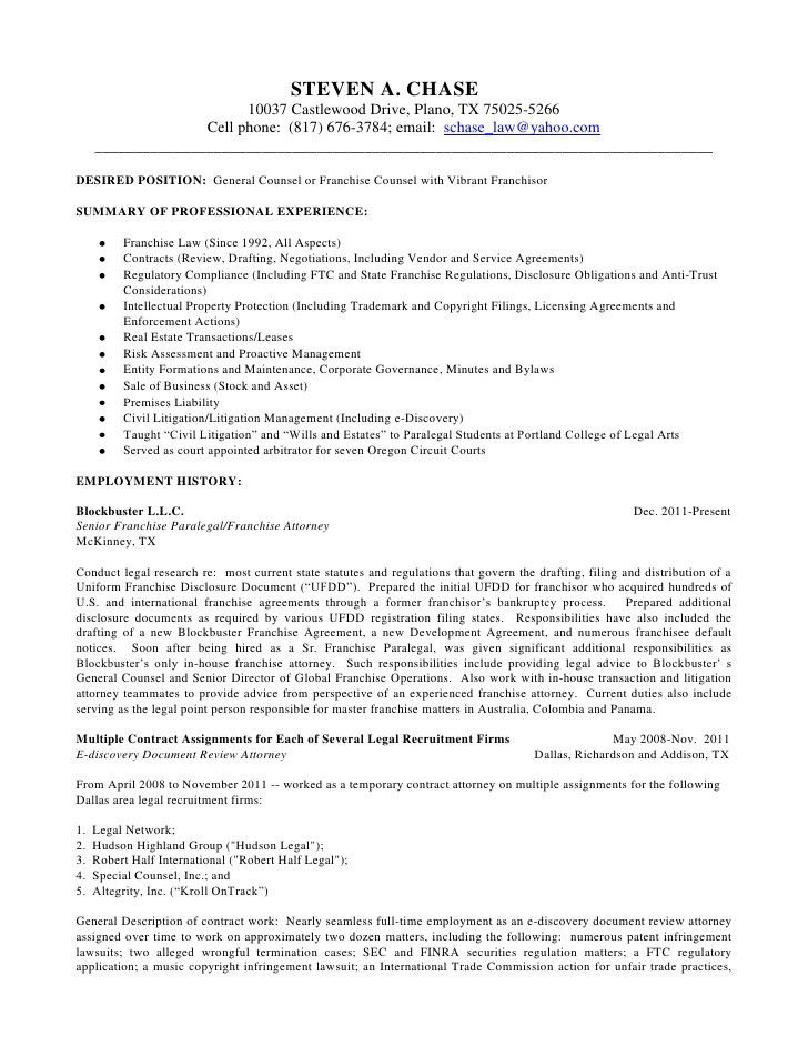 Attorney Resume Templates Patent Template Example Legal
