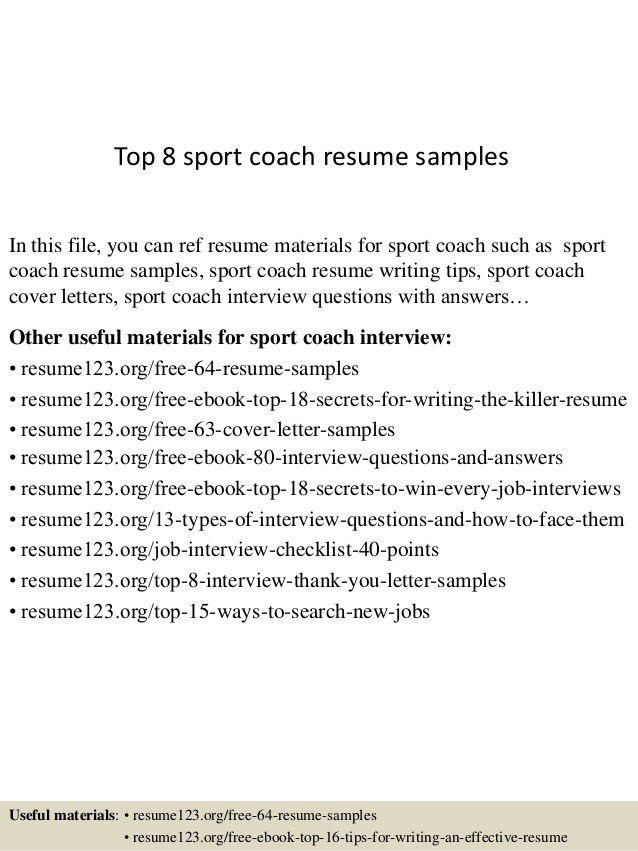 soccer coach resume samples