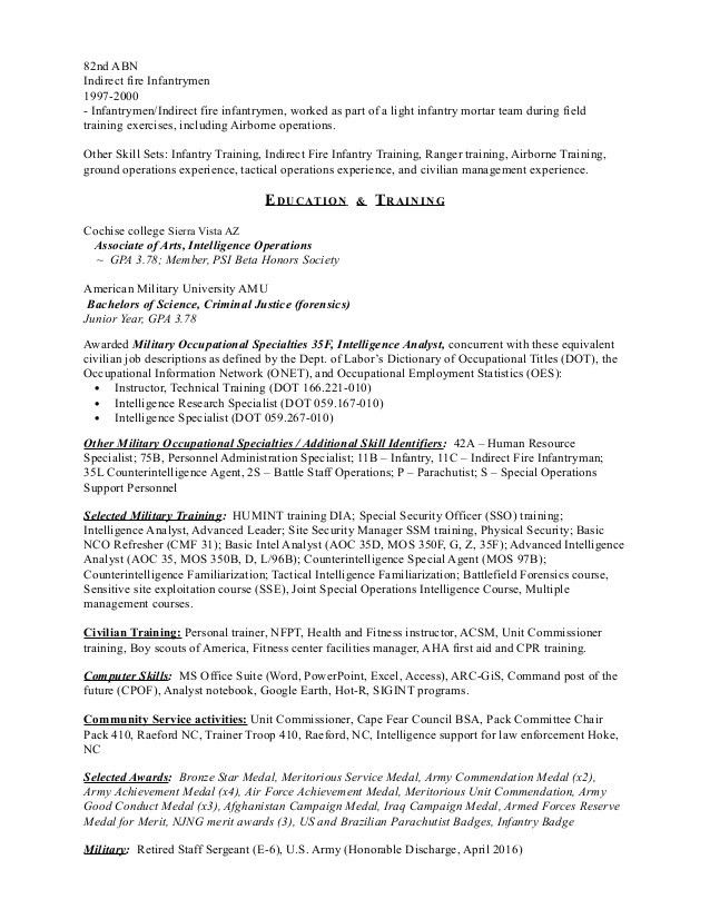 intelligence research specialist sample resume top 8 program