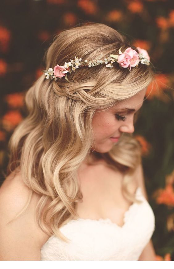 Blonde curls and floral head accessory