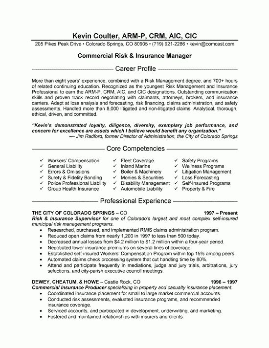 Insurance Resume Examples - Examples of Resumes - insurance resumes