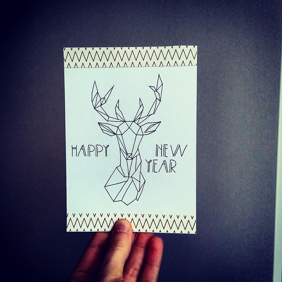 Geometric new year greeting card geometric deer card