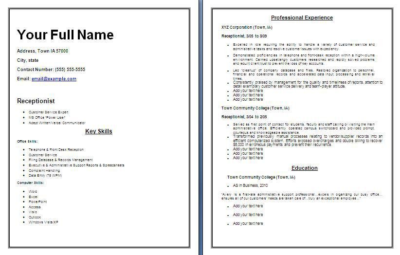 Receptionist Resume Template Free Receptionist Resume Yours - examples on how to write a resume