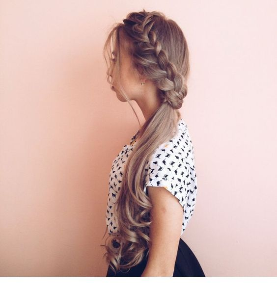 Side large braid and curls