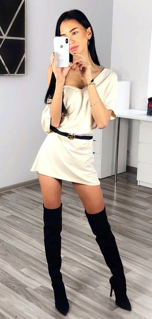 white V-neck mini dress and black knee high boots #spring #outfits