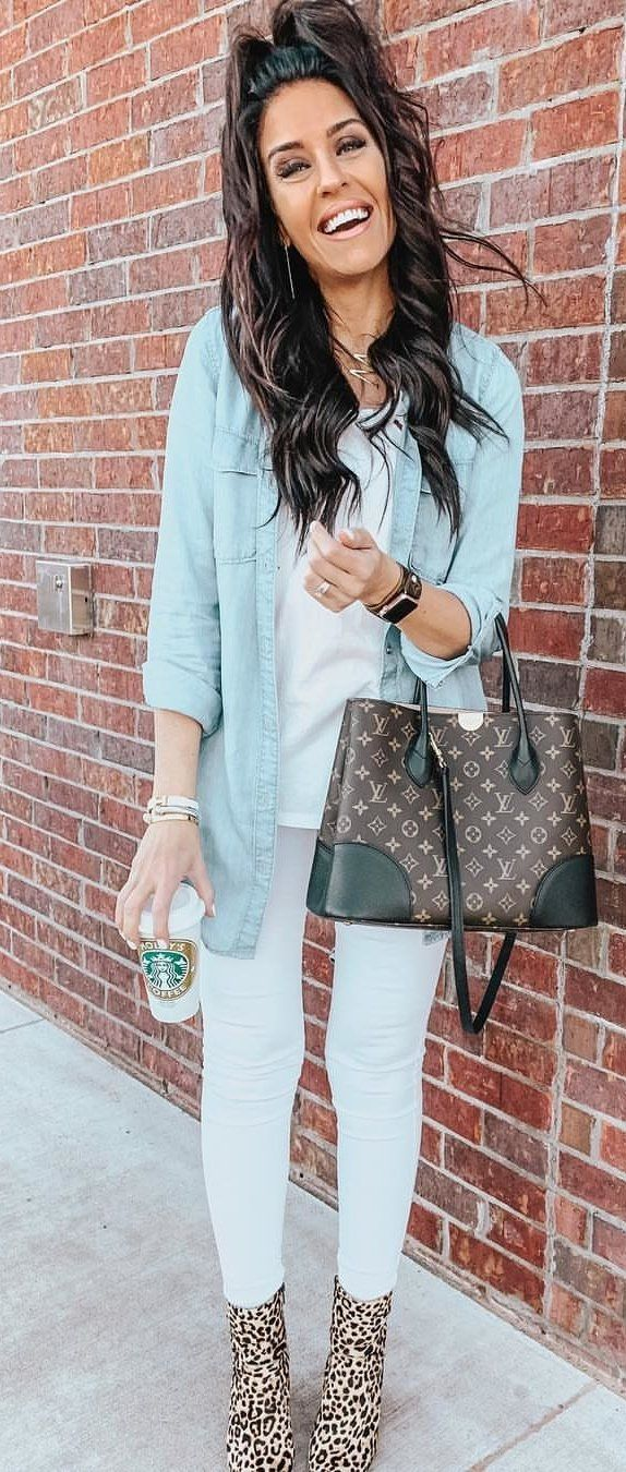 blue denim jacket, white top, white pants, and Louis Vuitton 2-way bag #spring #outfits