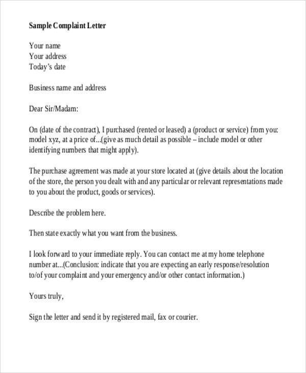 Complaint Mail Format Download The Complaint Letter Template From - business complaint letter format