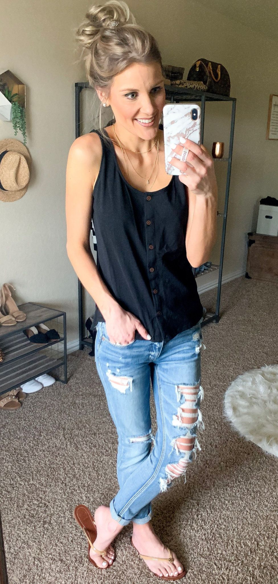 black blouse and blue distress denim jeans #spring #outfits