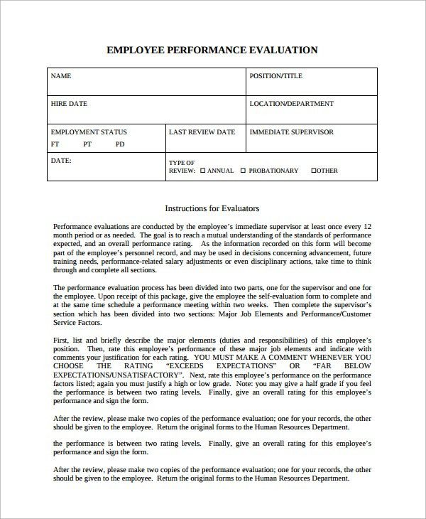 free employee performance evaluation forms