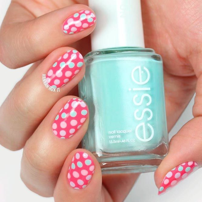 Pink Nails With Polka Dots Pattern #pinknails #polkadotsnails ★ Easter is high time to gather together with the whole family and to prepare for a wonderful weekend. If you want to be all in Easter-mood and shy like Ostara, you shouldn't leave Easter nails on the backburner. Check out these designs for inspiration and try the prettiest of them! #glaminati #lifestyle #easternails