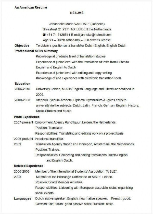Sample Resume Format Word Free Resume Template For Word Resume - how to get a resume template on word