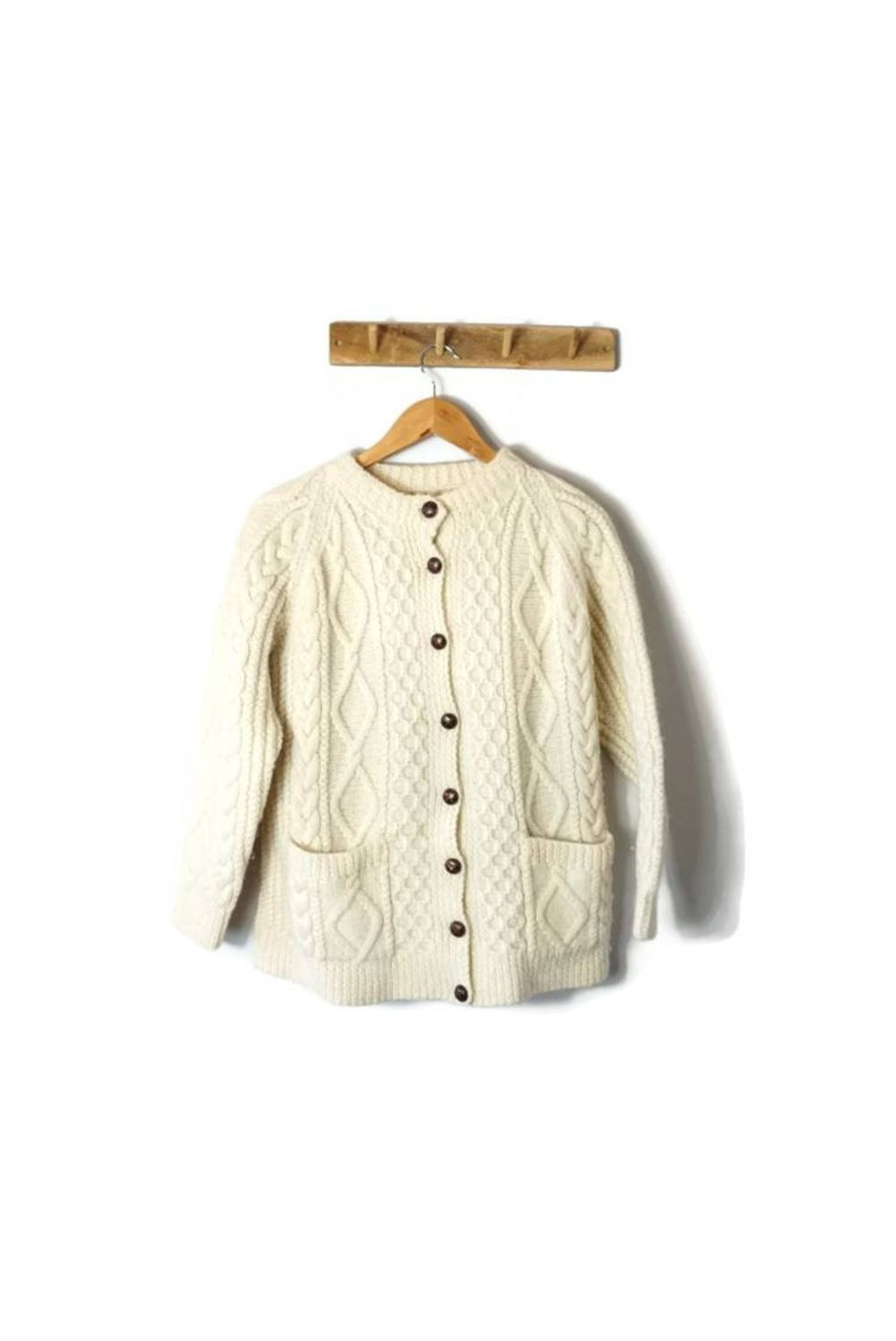 Vintage Aran hand knitted cream cardigan with brown buttons / | Etsy