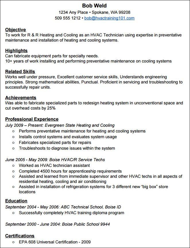 hvac apprentice sample resume