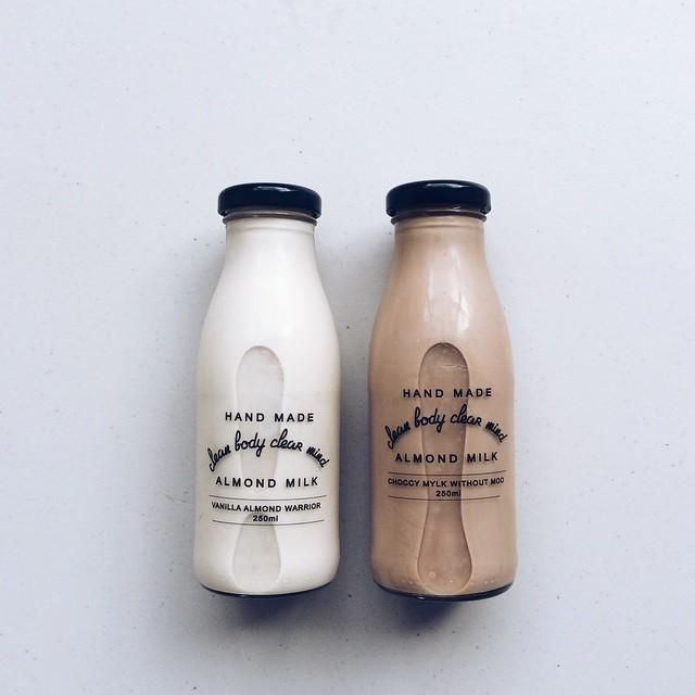 """Almond milk, choccy mylk, almond warriors, vanilla almond, cleanbody clearmind almondmilk, almondmilk milkwithoutmoo, clear mindfulness, milk bottle, milk packaging. By: iconosquare.com. Galery: """"Packaging Design Bottle Creativity - Admirable Pictures of Bottle Packaging for Your Ideas""""."""