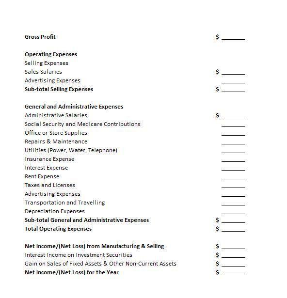 Proper Income Statement Income Statement Expense And Losses - proper income statement format