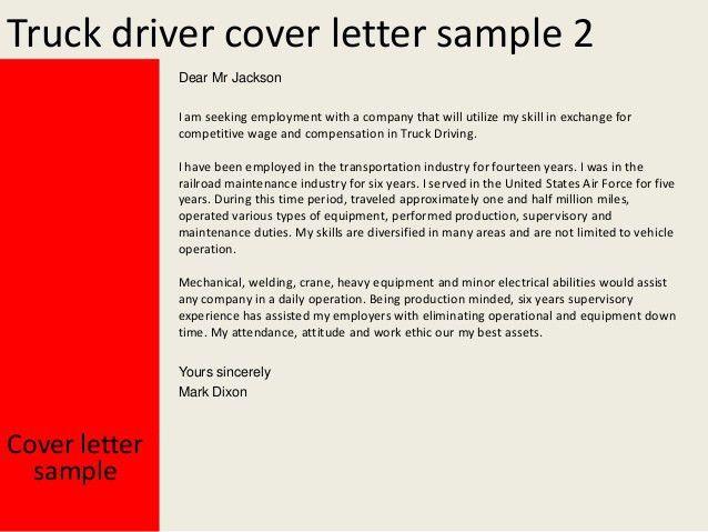 Cover Letter Truck Driver Truck Driver Cover Letter Resume Genius Water  Truck Driver .
