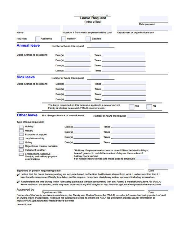 ... Family Medical Leave Act Form Plainresume Co ...