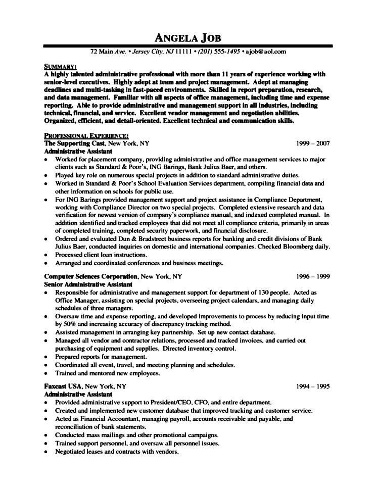 Executive Assistant Resume Samples Free Executive Assistant Free Senior Administrative  Assistant Resume