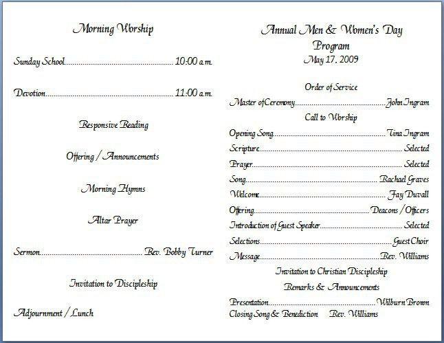 church program template free