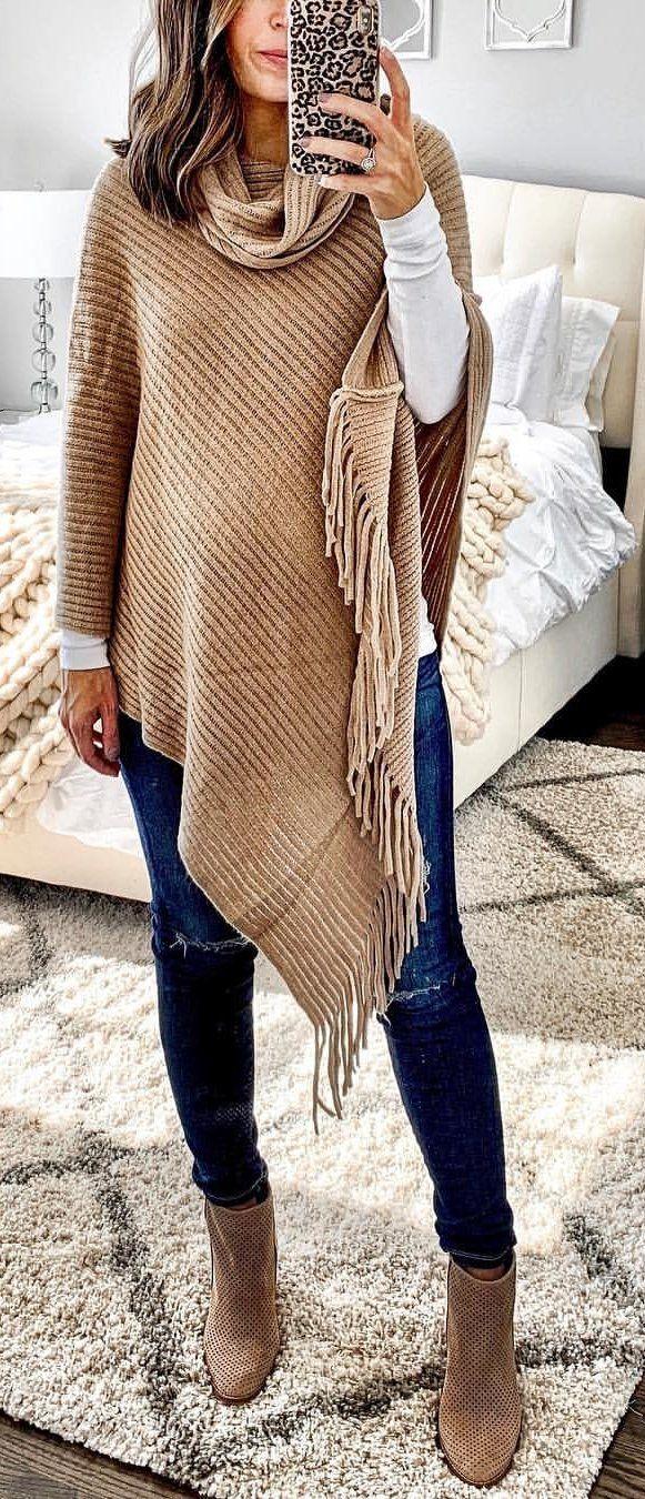 women' brown poncho