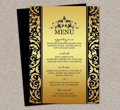 Party Menu Template 17 Dinner Party Menus Psd Word, Party Menu - sample menu template