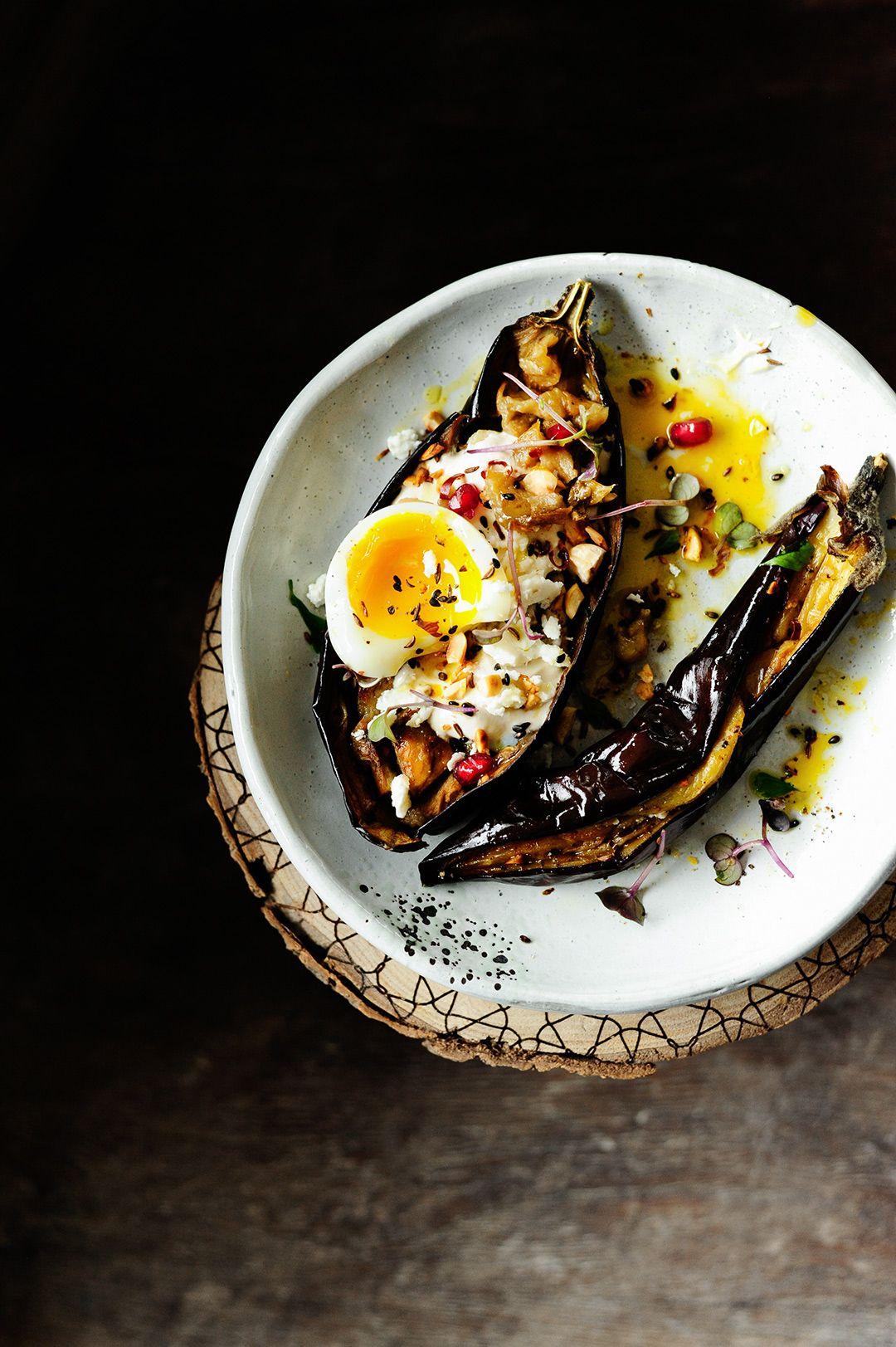 Roasted aubergine with tahini dressing and hazelnuts