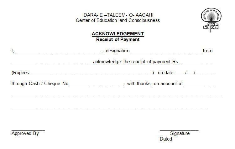 Cash Acknowledgement Receipt Cash Payment Receipt 7 Examples In - payment receipt sample