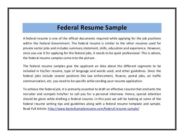 Federal Resumes Samples Federal Resume Sample And Format The - federal resume examples