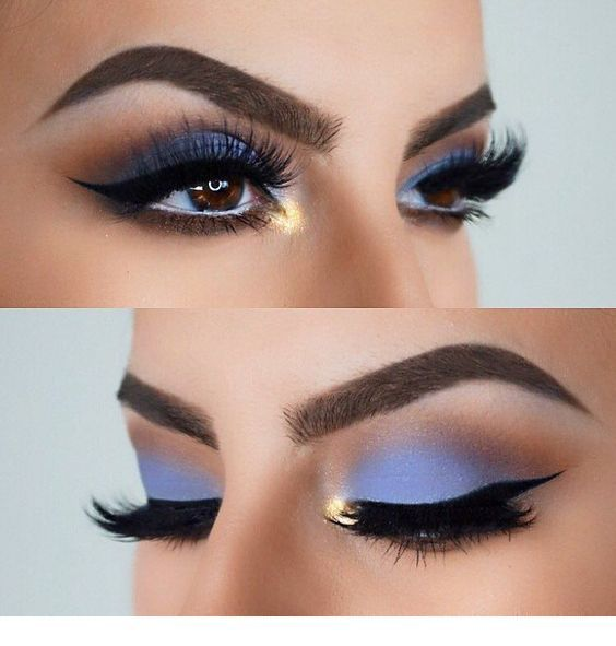 Glam light blue matte eye makeup